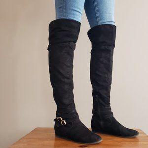 Aldo Knee-High Wedge Boot Black w/ Buckle Detail